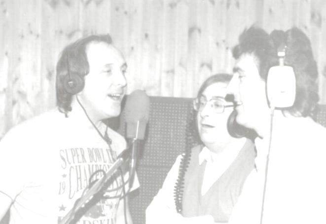 photo of Holly Records founders recording in Studio